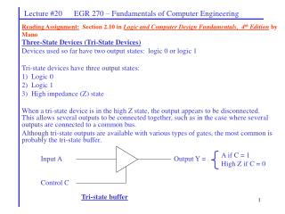 Reading Assignment:  Section 2.10 in Logic and Computer Design Fundamentals,  4th Edition by Mano