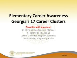 Elementary Career Awareness Georgia s 17 Career Clusters