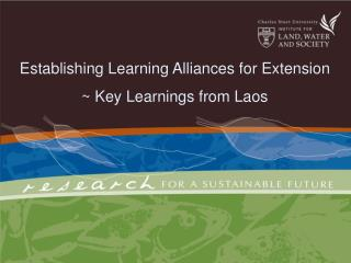 Establishing Learning Alliances for Extension: Key Learnings from Laos