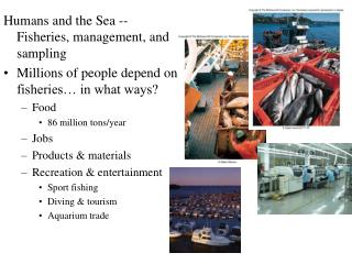 Humans and the Sea -- Fisheries, management, and sampling Millions of people depend on fisheries  in what ways Food 86 m