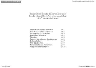 Dossier de demande de partenariat pour le salon des m tiers d art et de la cr ation du Carrousel du Louvre