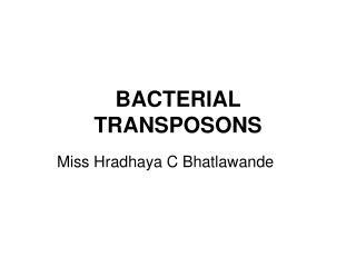 BACTERIAL TRANSPOSONS