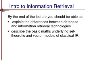 Intro to Information Retrieval