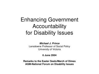 Enhancing Government Accountability for Disability Issues