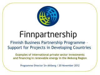 Finnish Business Partnership Programme  Support for Projects in Developing Countries
