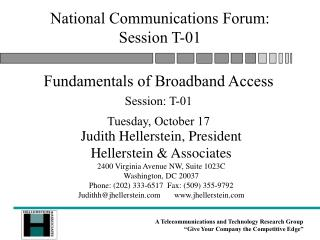 National Communications Forum: Session T-01