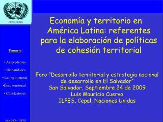 Econom a y territorio en Am rica Latina: referentes para la elaboraci n de pol ticas de cohesi n territorial