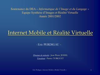 Soutenance du DEA   Informatique de l Image et du Langage   Equipe Synth se d Images et R alit  Virtuelle Ann e 2001