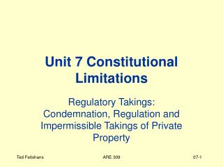 Unit 7 Constitutional Limitations