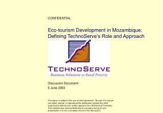 Eco-tourism Development in Mozambique: Defining TechnoServe s Role and Approach