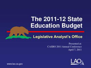 The 2011-12 State Education Budget