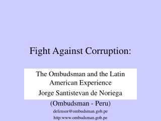 Fight Against Corruption:
