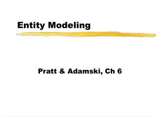 Entity Modeling
