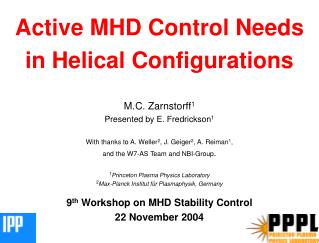 Active MHD Control Needs in Helical Configurations