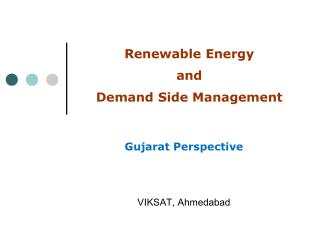 Renewable Energy  and  Demand Side Management