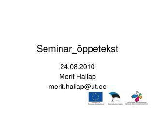 Seminar_ ppetekst
