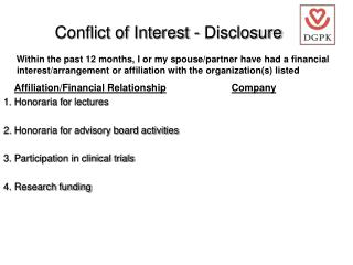Conflict of Interest - Disclosure