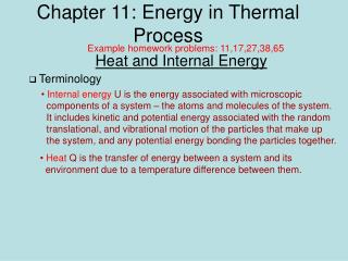 Chapter 11: Energy in Thermal Process