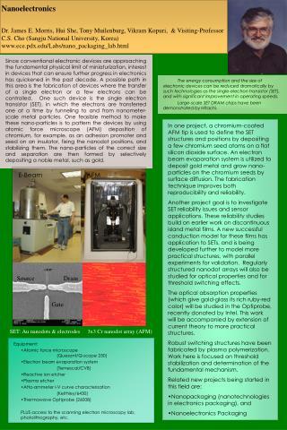 Nanoelectronics  Dr. James E. Morris, Hui She, Tony Muilenburg, Vikram Kopuri,   Visiting-Professor C.S. Cho Sangju Nati