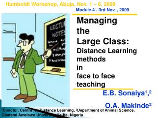 Managing  the  Large Class:  Distance Learning  methods  in  face to face  teaching