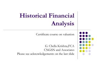 Historical Financial Analysis