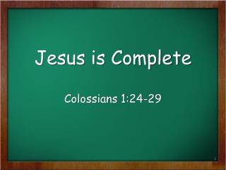 Jesus is Complete