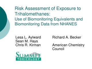 Risk Assessment of Exposure to Trihalomethanes:   Use of Biomonitoring Equivalents and Biomonitoring Data from NHANES