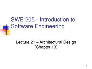 SWE 205 - Introduction to Software Engineering