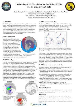 Validation of US Navy Polar Ice Prediction PIPS Model using Cryosat Data