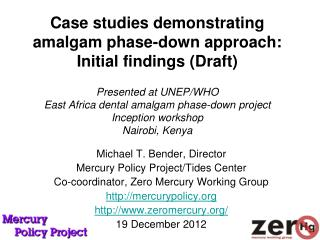 Case studies demonstrating amalgam phase-down approach:  Initial findings Draft  Presented at UNEP
