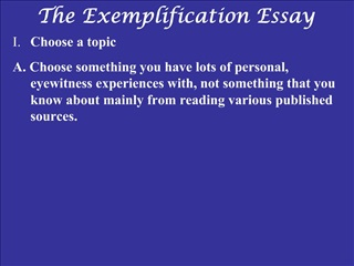The Exemplification Essay