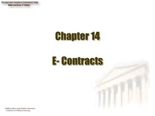 Chapter 14  E- Contracts
