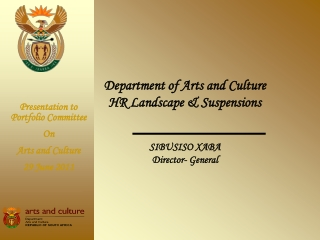 Sibusiso Xaba  Director-General: Arts and Culture