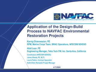 Application of the Design-Build Process to NAVFAC Environmental Restoration Projects
