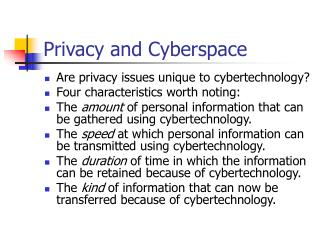 Privacy and Cyberspace