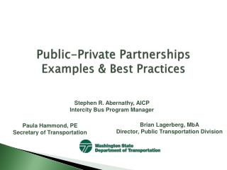 Public-Private Partnerships Examples  Best Practices