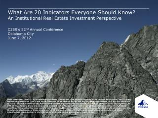 What Are 20 Indicators Everyone Should Know An Institutional Real Estate Investment Perspective