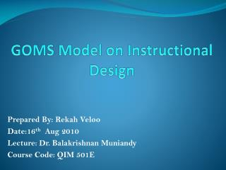 GOMS Model on Instructional Design
