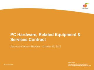 PC Hardware, Related Equipment  Services Contract