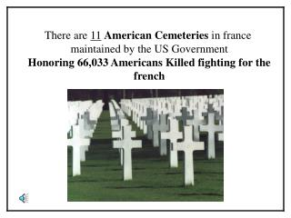 There are 11 American Cemeteries in france  maintained by the US Government  Honoring 66,033 Americans Killed fighting f