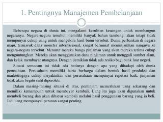 1. Pentingnya Manajemen Pembelanjaan
