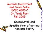 Miranda Overstreet and Jamie Dekle ECED 4300 C Dr. Tonja Root Fall 2009