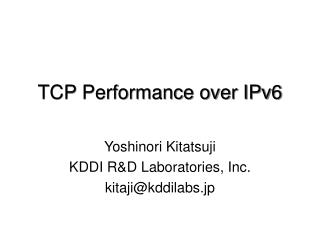 TCP Performance over IPv6