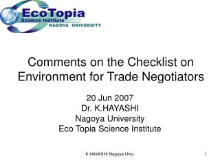 Comments on the Checklist on Environment for Trade Negotiators