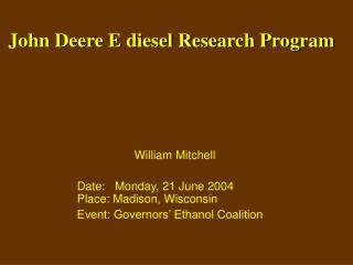 John Deere E diesel Research Program