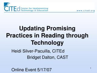 Updating Promising Practices in Reading through Technology