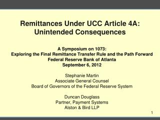 Remittances Under UCC Article 4A: Unintended Consequences