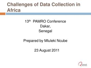 Challenges of Data Collection in Africa