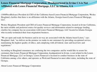 Lenox Financial Mortgage Corporation