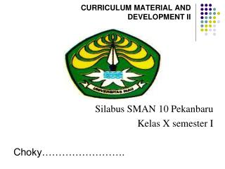 CURRICULUM MATERIAL AND DEVELOPMENT II